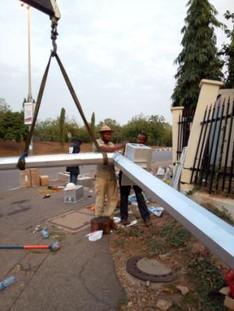 Solar powered traffic signals installation