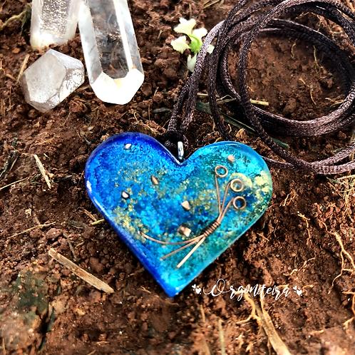 Pingente Orgonite Coração Lápis Lazuli