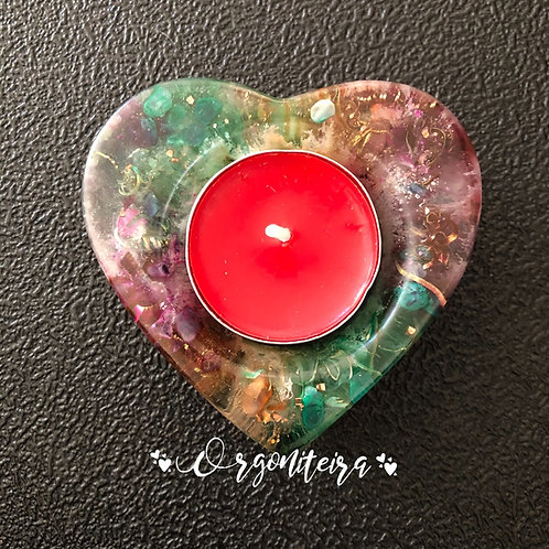 Orgonite Porta velas coração Rubi zoisite