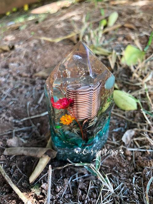 Orgonite Cristal lemuriano Quartzo verde, Amazonita, Esmeralda e Pirita