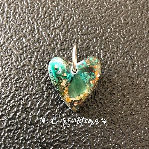 Orgonite Mini coração colours quartzo verde