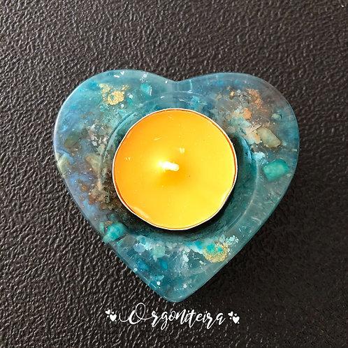 Orgonite Porta velas coração Apatita com Amazonita