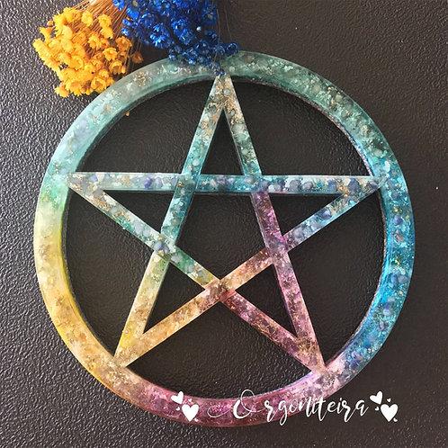 Orgonite Pentagrama Citrino, Q verde, Q azul, Ametista e Sodalita