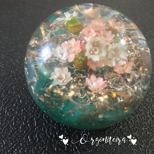 Orgonite Esfera Floral Quartzo verde