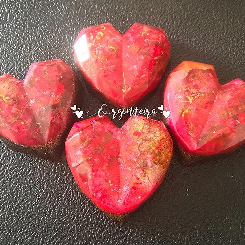 Orgonite Coração 3D Floral Jaspe vermelho