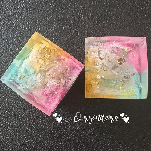 Orgonite cubo Quartzo verde com Quartzo rosa