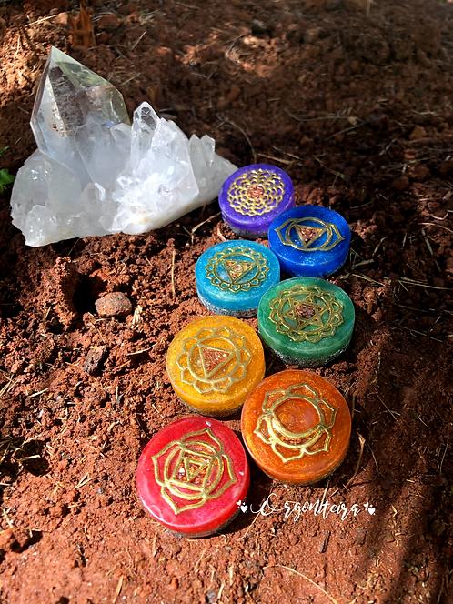 Kit Orgonites 7 Chakras dourado