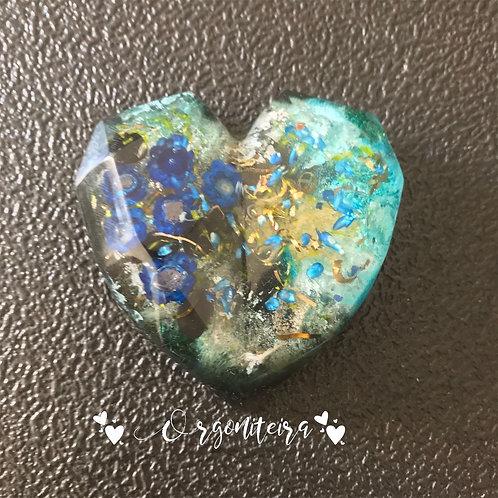 Orgonite coração 3D Floral Turmalina negra