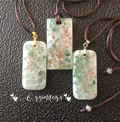 Pingente Orgonite Quartzo verde com quartzo rosa