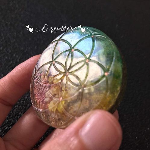 Medalhão ou amuleto Semente da Vida Citrino