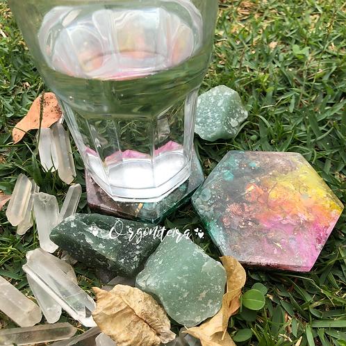 Kit Porta copos orgonite Quartzo verde