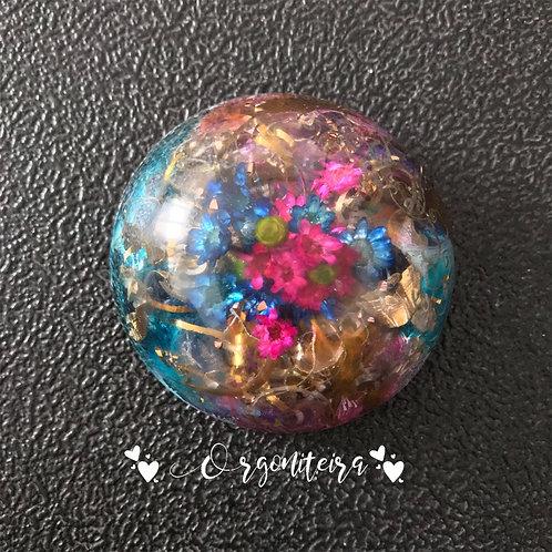 Orgonite meia esfera floral ametista