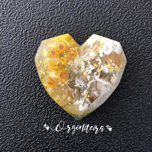 Orgonite coração 3D Floral Citrino