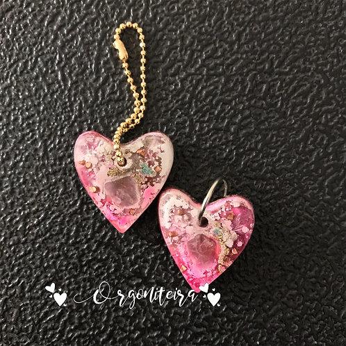 Orgonite coração pet colours quartzo rosa