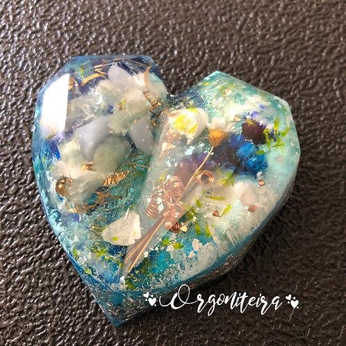 Orgonite Coração 3D Angelita com Água marinha