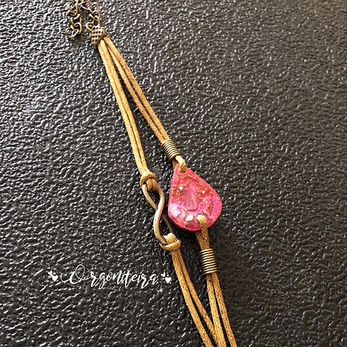 Orgonite pulseira gota Turmalina Rosa