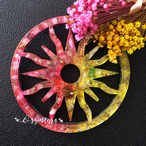 Orgonite sol Central de Citrino com Quartzo rosa
