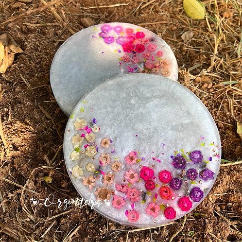 Orgonite Porta copos ametista com quartzo rosa