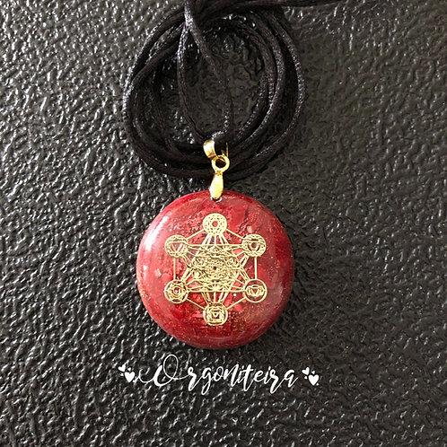 Orgonite Pingente Redondo Cubo de Metatron Jaspe vermelho