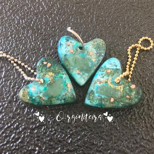 Orgonite Pet Coração quartzo verde