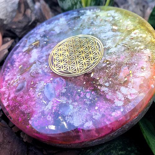 Orgonite Energizador para água Flor da Vida Citrino e Ametista