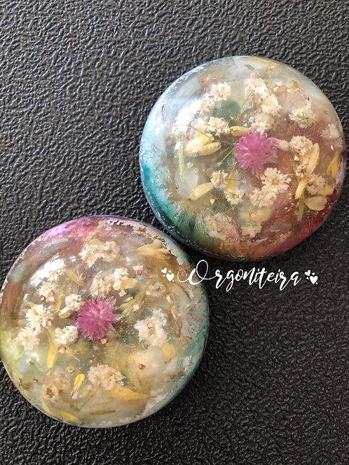 Meia esfera Quartzo verde com Quartzo rosa