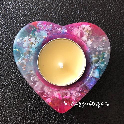 Orgonite Porta velas coração Fluorita