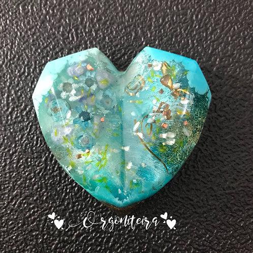 Orgonite Coração 3D Floral Quartzo azul