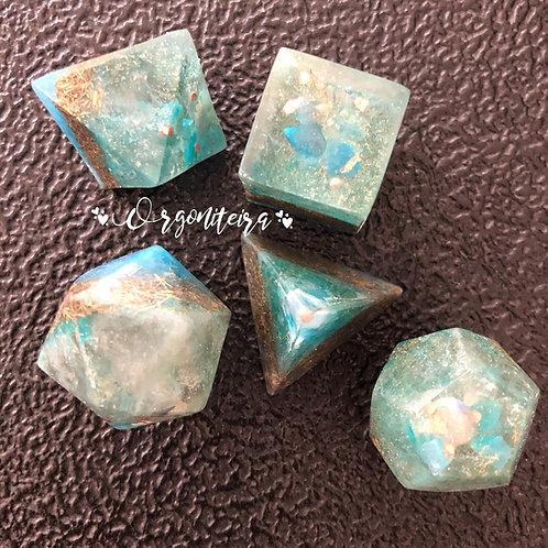 Kit Orgonite Sólidos Platônicos Quartzo Azul