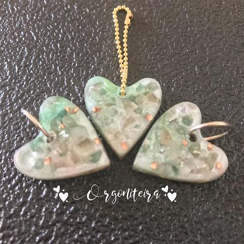 Orgonite Pet Coração quartzo verde com Quartzo rosa