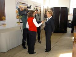 Marie being interviewed