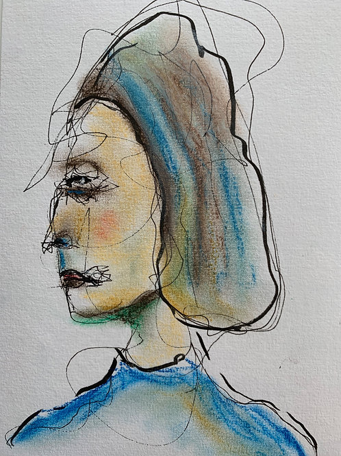 Lefthand painting (A5), Innrammet 20 x 25 cm