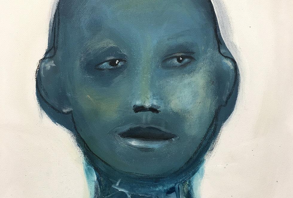 Blå mann, 50 x 40