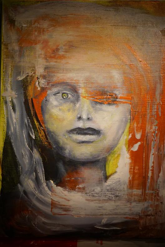 """""""Fire"""", Akryl og olje på lerret, 32,5 x 23,5 cm"""