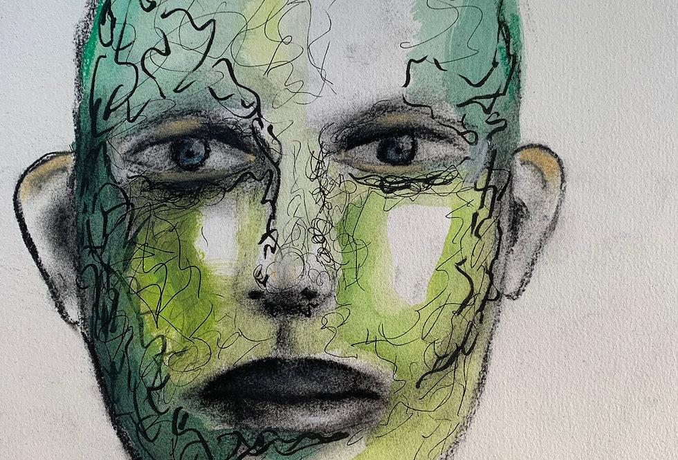 Green man, innrammet 30 x 40 cm
