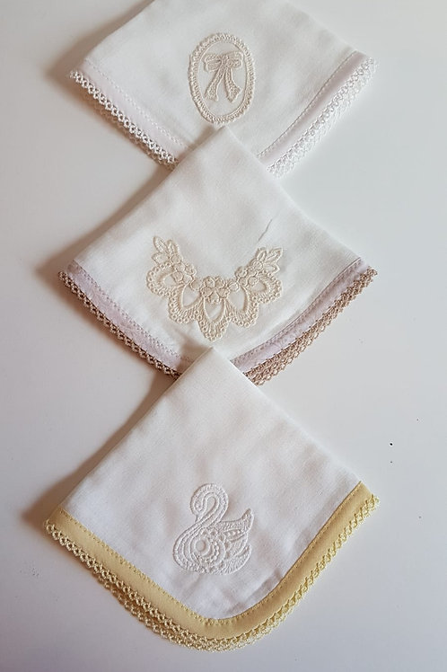TRIO OF NEUTRAL MUSLINS WITH APPLIQUE