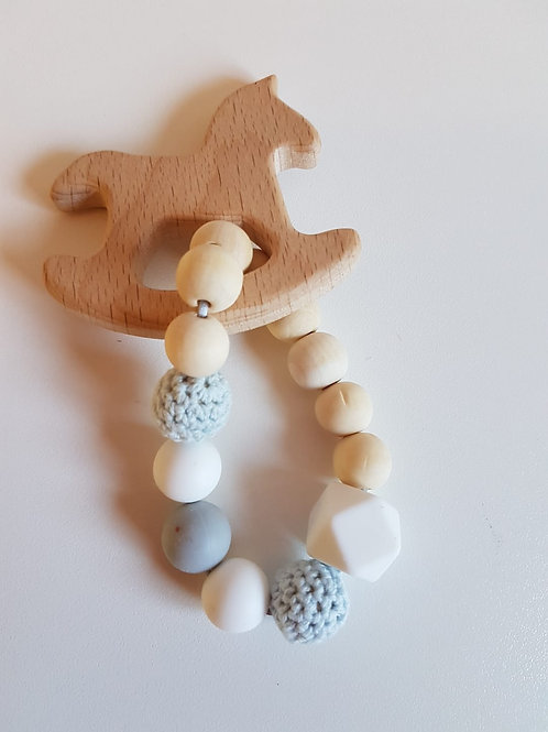 GORGEOUS ORGANIC TEETHER WITH SILICONE AND WOOD BEADS