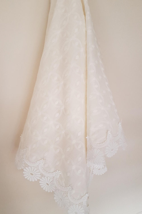 EMBROIDERED SWISS COTTON CREAM WRAP