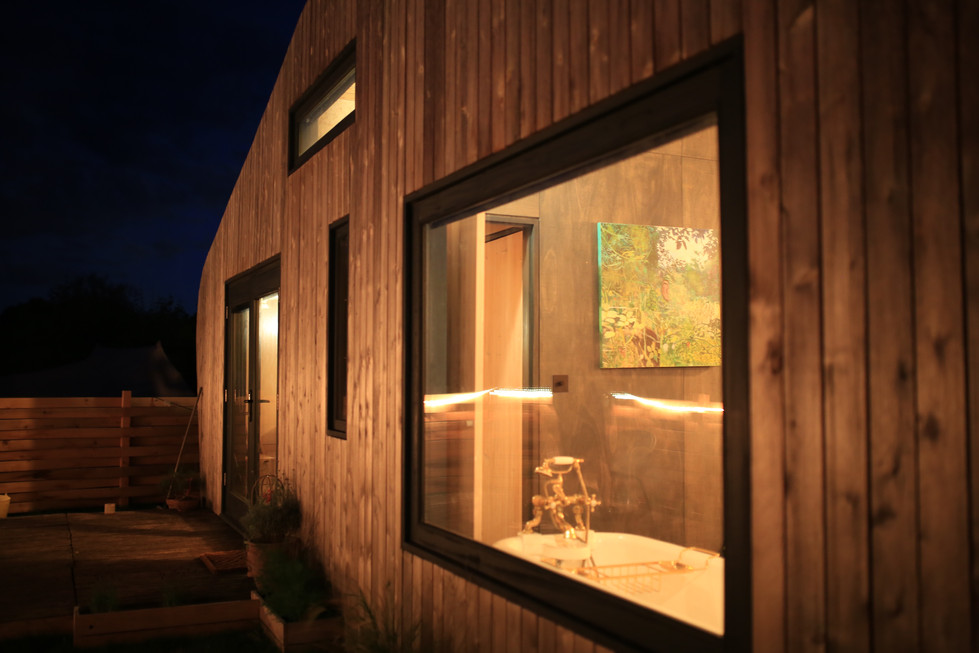 Hergest Lee Cabin at Night