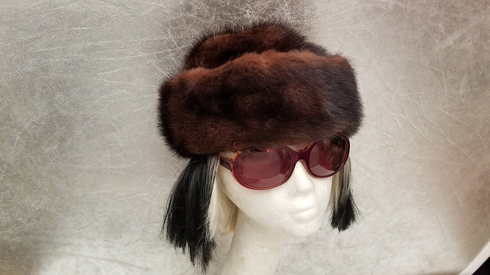 Russian 1950's soft brown mink hat