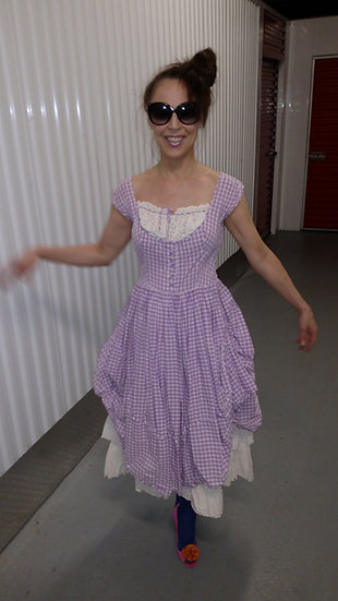 Vintage Dress Rockabilly 1950's Gingham lavender white check