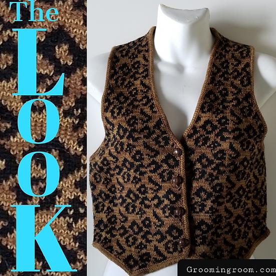 Knit vest 80s vintage brown leopard print Medium.
