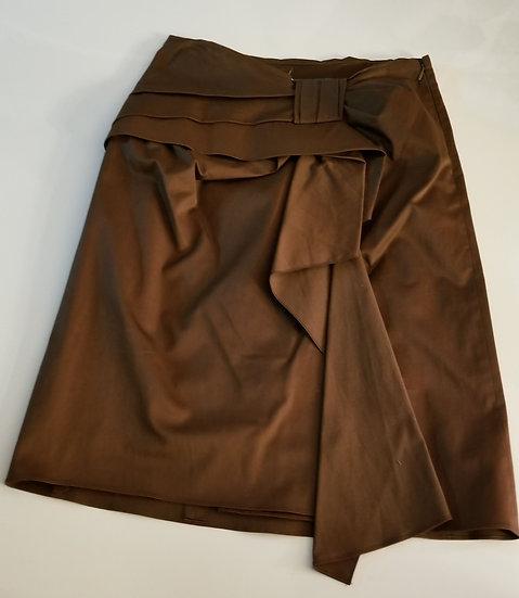 Alberta Ferretti polished cotton brown skirt w interesting napkin fold details