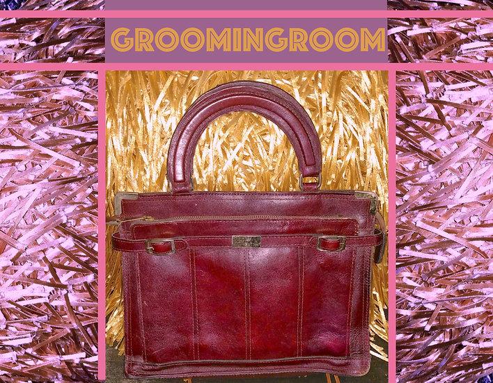 1980's Burgundy leather small attaché handbag
