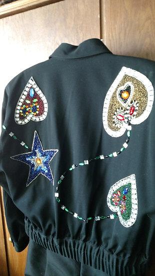 Lillie Rubin 1980's black Women's dolman s jacket with Rhinestone embellishments