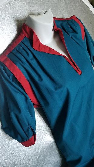 Sasson Dress vintage 90s in blue with red detailing
