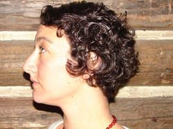 Women's short curly hair wedged haircut