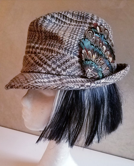 Stetson Plaid hat  with custom feathers 7 1/8