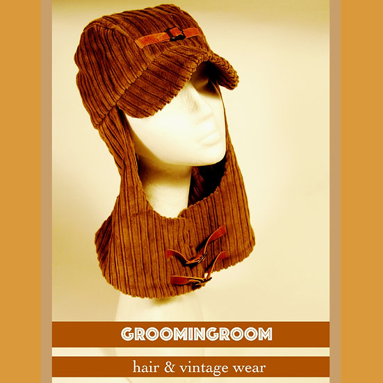 Courderoy hoodie winter hat made in Italy 90' s