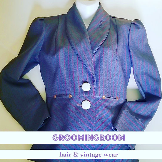 Blazer jacket 1940s tailored style  in blue grey